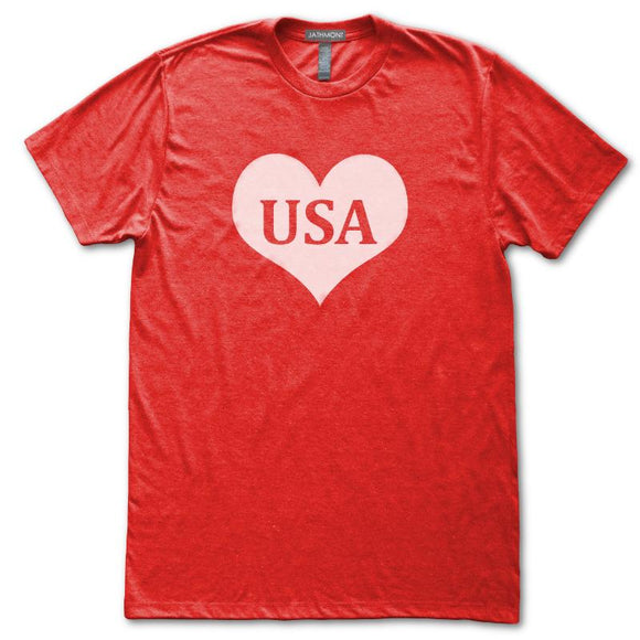 USA Heart T-Shirt, Heather Red, Fitted, Patriotic Independence Day Fourth of July T-Shirts - Item 140191-HRD