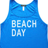 Beach Day Tank Top, Royal Blue, Womens Relaxed Fit, Seashore Summer Weekend Vacation Beachwear Tanks Tops - Item 140193-RBL