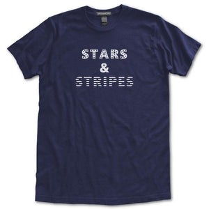 Stars & Stripes T-Shirt, Navy, Fitted, Unisex, Patriotic Independence Day Fourth of July T-Shirts - Item 140194-NVY