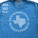 Stomping Grounds State T-Shirt, Heather Royal, Fitted, Unisex, State Love Local Hometown T Shirts - Item 140195-HRL