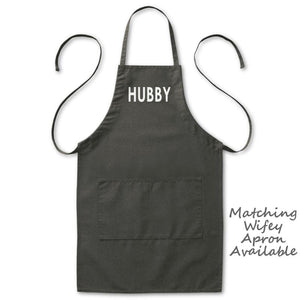 "Hubby Husband Grill Kitchen Apron, Mens, Black, 2 Pockets, 20""x30"", Adjustable Neck Loop, Wedding Gifts Aprons - Item 140198-BLK"
