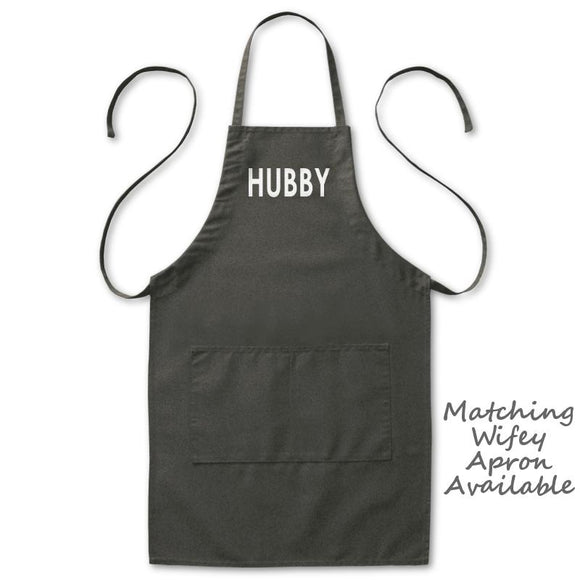 Hubby Husband Grill Kitchen Apron, Mens, Black, 2 Pockets, 20