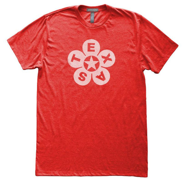 Texas Star Flower T-Shirt, Heather Red, Fitted, Home State Love Lone Star T Shirts - Item 140199-HRD