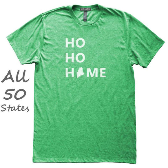 HO HO Home State Love T-Shirt, Heather Green, Fitted, Unisex, Funny Hometown Christmas T Shirts - Item 140200-HGN