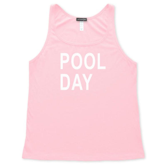 Pool Day Tank Top, Pink, Womens Relaxed Fit, Summer Weekend Vacation Beachwear Poolside Tanks Tops - Item 140202-PNK