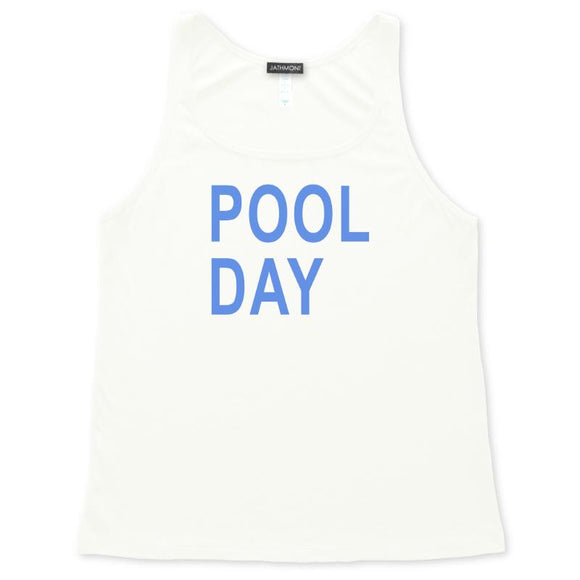 Pool Day Tank Top, White, Womens Relaxed Fit, Summer Weekend Vacation Beachwear Poolside Tanks Tops - Item 140202-WHT