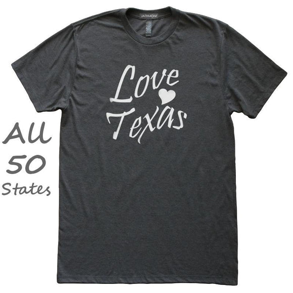 Love State Heart Home T-Shirt, Heather Black, Fitted, Hometown T Shirts - Item 140204-HBK