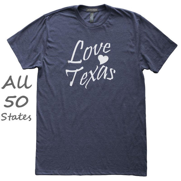 Love State Heart Home T-Shirt, Heather Navy, Fitted, Hometown T Shirts - Item 140204-HNV