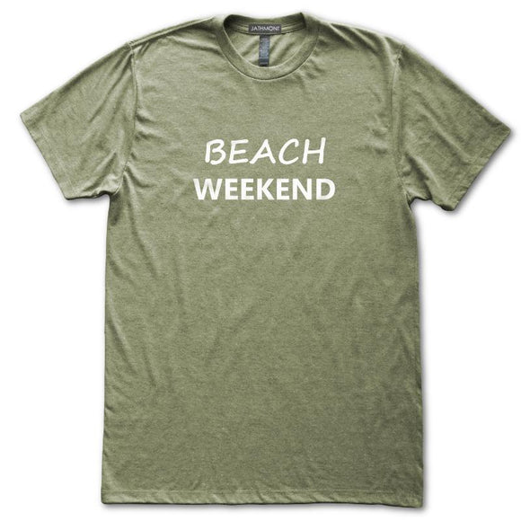 Beach Weekend T-Shirt, Heather Olive, Fitted, Seashore Summer Vacation Beachwear T-Shirts - Item 140208-HOL