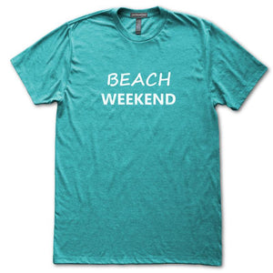 Beach Weekend T-Shirt, Heather Turquoise, Fitted, Seashore Summer Vacation Beachwear T-Shirts - Item 140208-HTQ