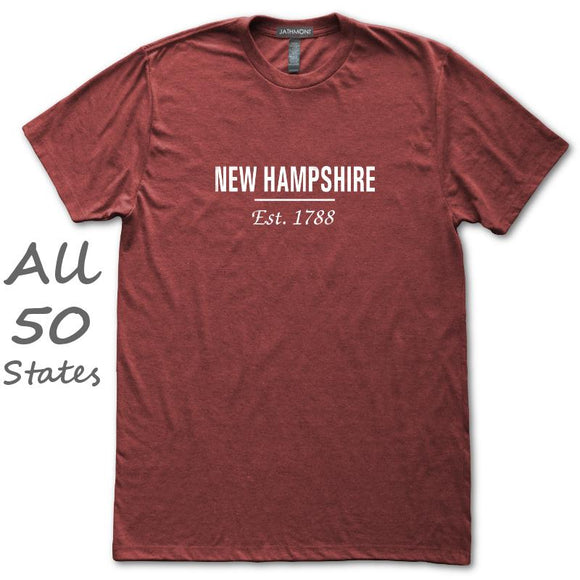 Statehood Established T-Shirt, Heather Burgundy, Fitted, Unisex, Home State History Geography Love T-Shirts - Item 140209-HBG