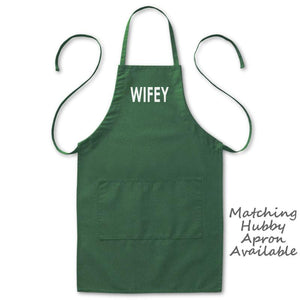 "Wifey Baker Cook Kitchen Apron, Womens, Green, 2 Pockets, 20""x30"", Adjustable Neck Loop, Wedding Gifts Aprons - Item 140211-GRN"