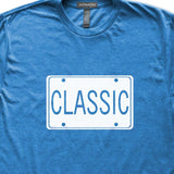 Classic License Plate T-Shirt, Heather Royal, Fitted, Attitude Charm Man Style Car Guy Auto T Shirts - Item 140213-HRL