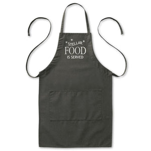 "Stellar Food Is Served Kitchen Astronomy Apron, Mens/Womens, Black, 2 Pockets, 20""x30"", Adjustable, Aprons - Item 140215-BLK"