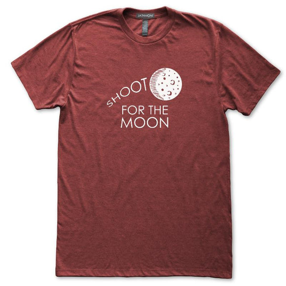 Shoot For The Moon Astronomy T-Shirt, Mens/Womens, Heather Burgundy, Fitted, Space Science Inspire T Shirts - Item 140218-HBG
