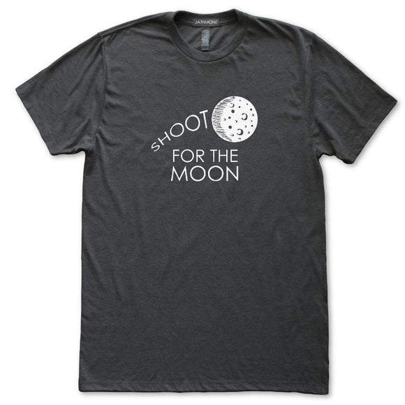 Shoot For The Moon Astronomy T-Shirt, Mens/Womens, Heather Black, Fitted, Space Science Inspire T Shirts - Item 140218-HBK
