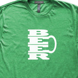 Beer Mug T-Shirt, Heather Green, Fitted, Unisex, Brewski India Pale Ale Hops Stout Lager Drinker T Shirts - Item 140221-HGN