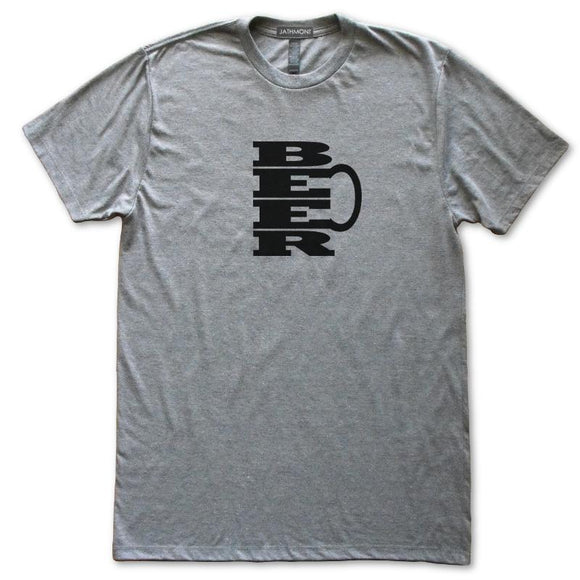 Beer Mug T-Shirt, Heather Grey, Fitted, Unisex, Brewski India Pale Ale Hops Stout Lager Drinker T Shirts - Item 140221-HGY