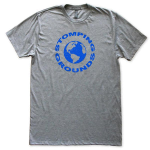 Stomping Grounds Earth Planet Astronomy T-Shirt, Mens/Womens, Heather Grey, Fitted, Space Science T Shirts - Item 140222-HGY