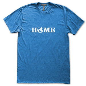 Home Planet Earth World T-Shirt, Mens/Womens, Heather Royal Blue, Fitted, Space Astronomy Science T Shirts - Item 140223-HRL