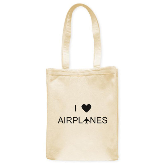 I Love Airplanes Enthusiast Heart Tote Bag, Natural, 10.5