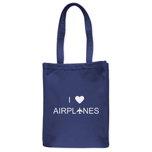 "I Love Airplanes Enthusiast Heart Tote Bag, Navy Blue, 10.5""x14"", Cotton, Flight Science Aviation Gifts Bags Totes - Item 140224-NVY"