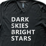 Dark Skies Bright Stars Space Astronomy T-Shirt, Mens/Womens, Black, Fitted, Night Universe Science T Shirts - Item 140227-BLK
