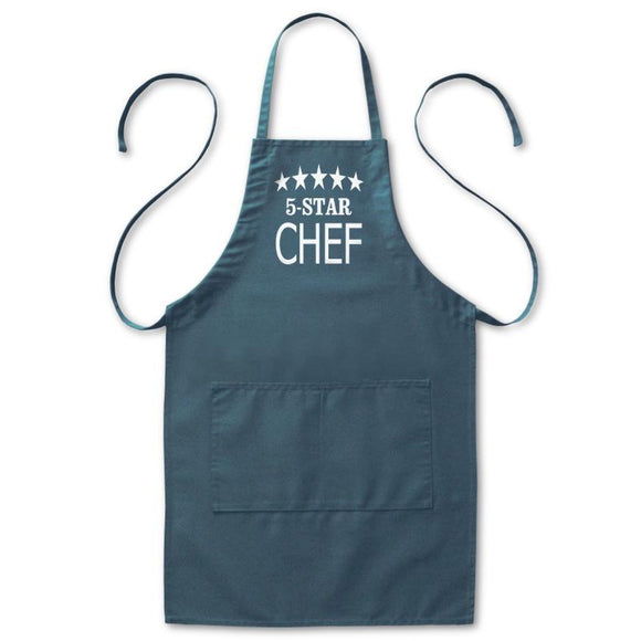 Five Star Best Chef Kitchen Pockets Apron, Mens/Womens, Navy Blue, 20