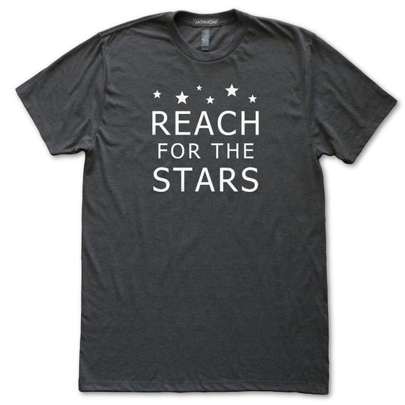 Reach For The Stars Astronomy Inspiration T-Shirt, Mens/Womens, Heather Black, Fitted, Night Science T Shirts - Item 140232-HBK
