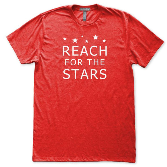 Reach For The Stars Astronomy Inspiration T-Shirt, Mens/Womens, Heather Red, Fitted, Night Science T Shirts - Item 140232-HRD