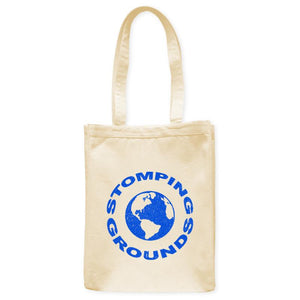 "Stomping Grounds Earth Planet Astronomy Tote Bag, Natural, 10.5""x14"", Cotton, Night Sky Science Bags Totes - Item 140234-NTL"