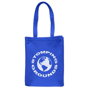 "Stomping Grounds Earth Planet Astronomy Tote Bag, Royal Blue, 10.5""x14"", Cotton, Night Sky Science Bags Totes - Item 140234-RBL"