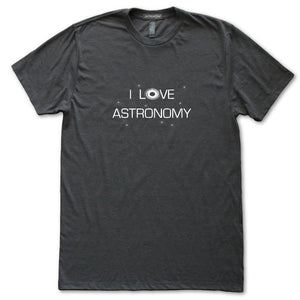 I Love Astronomy Galaxy Space T-Shirt, Mens/Womens, Heather Black, Fitted, Night Universe Science T Shirts - Item 140235-HBK
