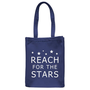 "Reach For The Stars Astronomy Inspiration Tote Bag, Navy Blue, 10.5""x14"", Cotton, Night Sky Science Bags Totes - Item 140237-NVY"