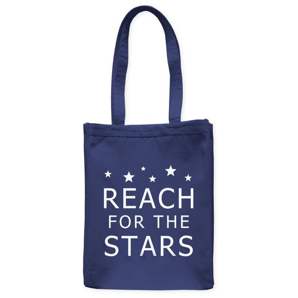 Reach For The Stars Astronomy Inspiration Tote Bag, Navy Blue, 10.5
