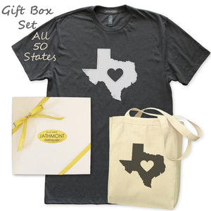 Gift Box Set: Love State Center Heart T-Shirt & Tote, Womens, Heather Black/Natural, Gifts T Shirts Bags Totes - Item 140238-BNL
