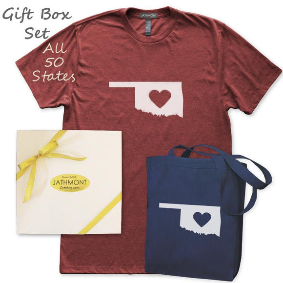 Gift Box Set: Love State Center Heart T-Shirt & Tote, Womens, Heather Burgundy/Navy, Hometown T Shirts Totes - Item 140238-BNV