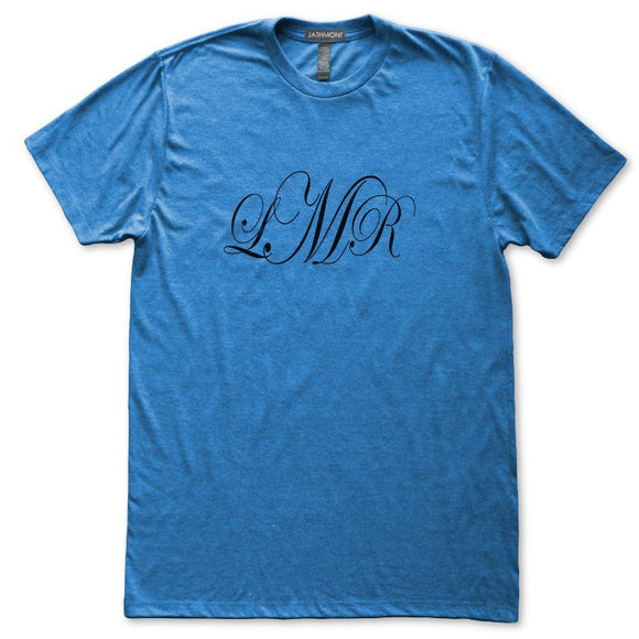 Monogram Scroll Font 3 Initials Personalized T-Shirt, Womens, Heather Royal Blue, Fitted, Gift Custom T Shirts - Item 140239-HRL