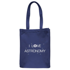 "I Love Astronomy Galaxy Space Tote Bag, Navy Blue, 10.5""x14"", Cotton, Night Sky Universe Science Bags Totes - Item 140240-NVY"