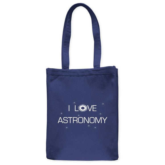 I Love Astronomy Galaxy Space Tote Bag, Navy Blue, 10.5