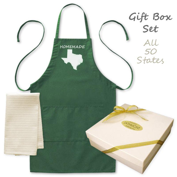 Gift Box Set: Homemade Happiness State Apron & Kitchen Towel, Mens/Womens, Green/White, Pockets, Cook Aprons - Item 140241-GRN