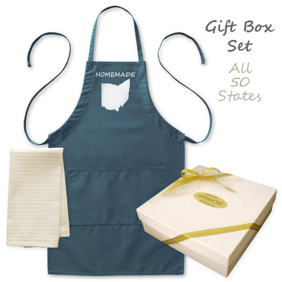 Gift Box Set: Homemade Happiness State Apron & Kitchen Towel, Mens/Womens, Navy/White, Pockets, Cook Aprons - Item 140241-NVY