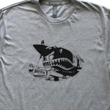 Vintage Airplane Nose Art Shark Teeth Mouth T-Shirt, Mens/Womens, Heather Grey, Fitted, Gifts T Shirts - Item 140242-HGY