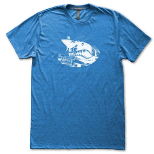 Vintage Airplane Nose Art Shark Teeth Mouth T-Shirt, Mens/Womens, Heather Royal Blue, Fitted, Gifts T Shirts - Item 140242-HRL