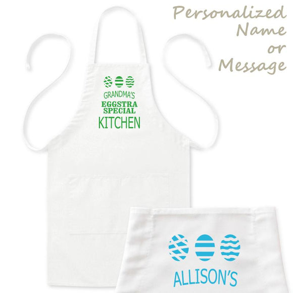 Personalized Easter Egg Kitchen Apron with Name/Message, Mens/Womens, White, 2 Pockets, 20