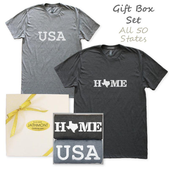 Gift Box Set: USA Home State Love T-Shirts, Mens/Womens, Heather Black/Heather Grey, Hometown T Shirts - Item 140246-BKG
