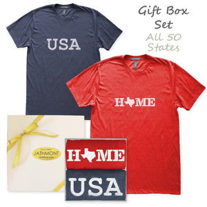 Gift Box Set: USA Home State Love T-Shirts, Mens/Womens, Heather Red/Heather Navy Blue, Hometown T Shirts - Item 140246-RDN