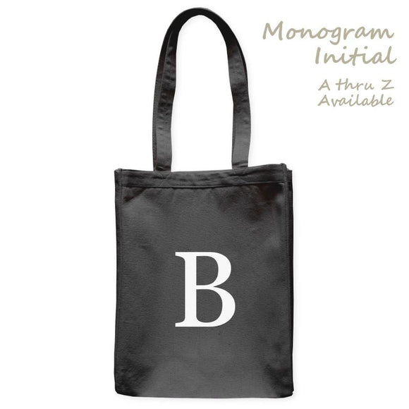 Personalized Tote Bag Single Initial Letter Monogram, Black, 10.5