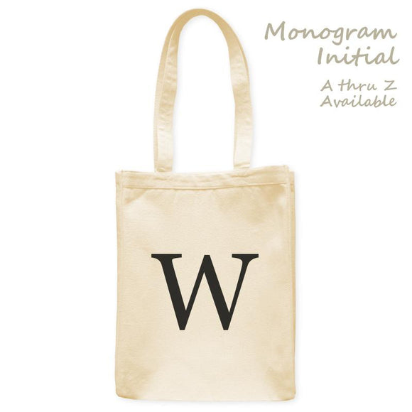 Personalized Tote Bag Single Initial Letter Monogram, Natural, 10.5