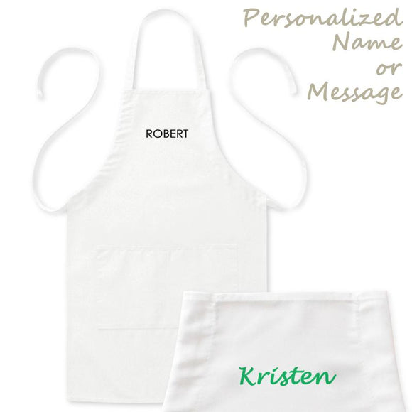 Personalized Kitchen Apron with Name/Message, Mens/Womens, White, 2 Pockets, 20